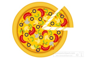 whole cheese pepperoni pizza with a slice clipart